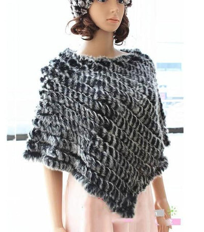 Fur Poncho 2019 Autumn Real Rabbit Hot Sale Triangle Knitted Women Pullover Lady Pashmina Wrap poncho pele de coelho