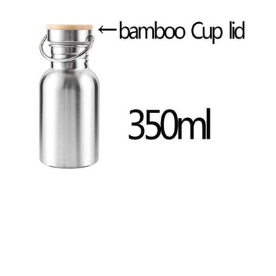 Portable Stainless Steel Water Bottle Bamboo Lid Sports Flasks Leak-proof Travel Cycling Hiking Camping Bottles BPA Free
