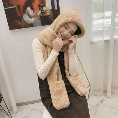 Hat female autumn and winter scarf gloves one-piece  Korean version of the tide wild students winter thick warm hat winter