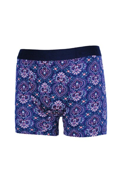 COTBOXER Men Navy Blue Motif Shawl Patterned Boxer 2010motif