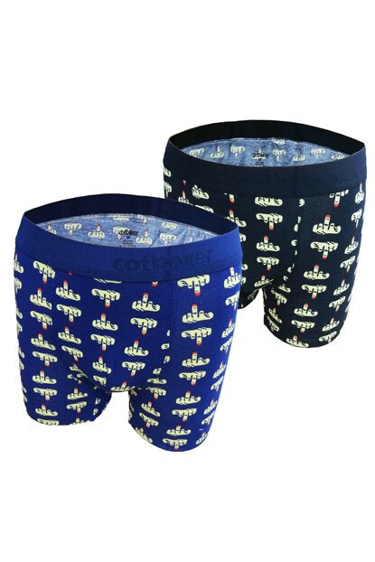 COTBOXER Navy Blue Black Men's 2 Pack Middle Finger Patterned Boxer 2010ort