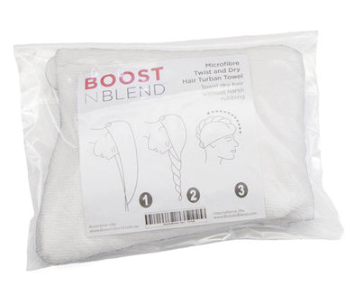Boost N Blend™ Microfibre Twist and Dry Hair Towel - Reduces Damage to Thinning Hair