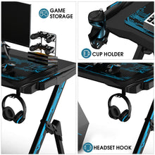"Load image into Gallery viewer, 43.3""Game Table Professional Internet Cafe Game Chair Computer Table With Audio Sensor RGB LED Lights Cup Holder Headphone Hook"