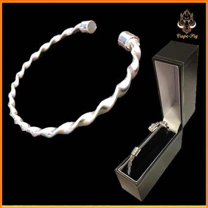 ADULT SILVER TORQUE TWISTED BANGLE , HAND CRAFTED 925 STIRLING SILVER IN GIFT BOX