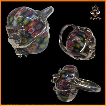 MURANO GLASS FLOWERS RING SIZE=P  SET IN.925 STERLING SILVER FROG SETTING SIZE UK=P
