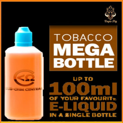 TOBACCO MEGA BOTTLE: 60ml to 100ml DIY E-LIQUID - SPECIAL PRICE