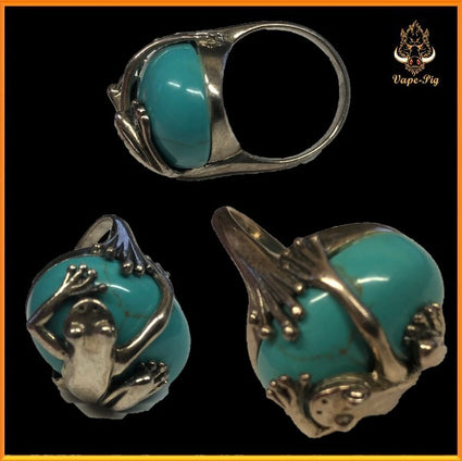 TURQUOISE SIZE=G RING SET IN.925 STERLING SILVER FROG SETTING SIZE UK=G
