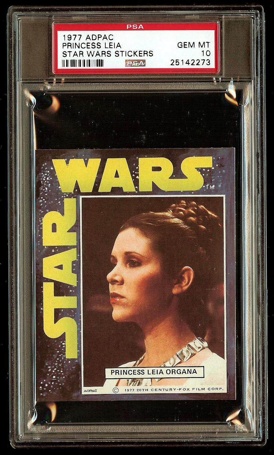 PRINCESS LEIA 1977 Star Wars ADPAC General Mills Cereal Sticker PSA 10 POP 1