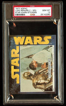 Load image into Gallery viewer, LUKE REPAIRS C3PO 1977 Star Wars ADPAC General Mills Cereal Sticker PSA 10 POP 1