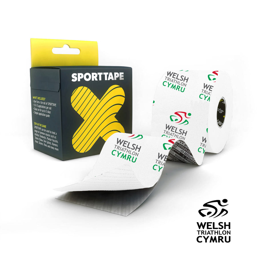 SPORTTAPE Extra Sticky Kinesiology Tape. 5cm x 5m K Tape - Welsh Triathlon Limited Edition