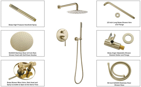 rbrohant brushed gold shower system
