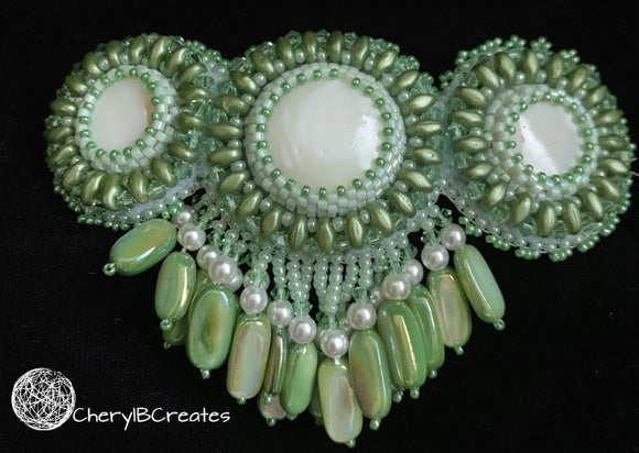 Green Mother of Pearl Barrette