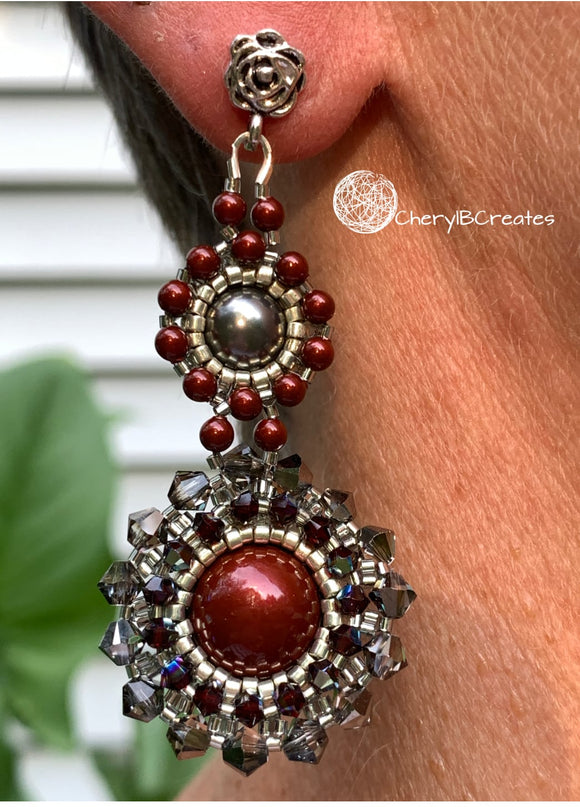 Bordeaux Pearl Earrings
