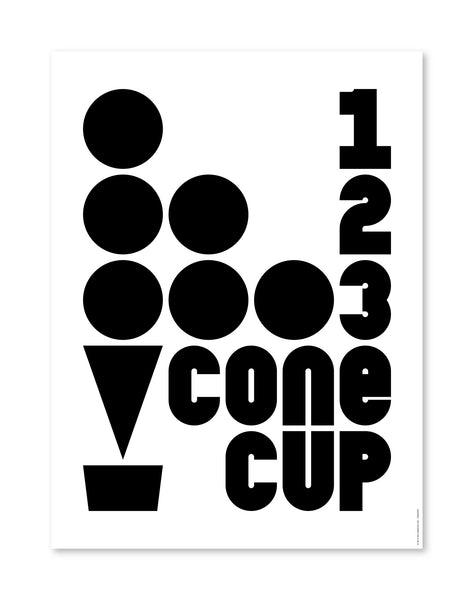 "Brain Freeze: 123 Cone Cup, 12"" x 16"""