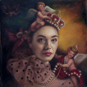 Crowns and Cherubs oil on canvas image for greetings card by Katie Ray