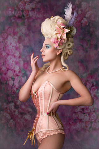 Eve corset in peach and gold by Miss Katie Corsets