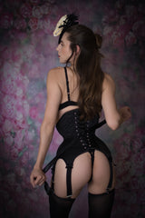 Suspender waspie black satin corset