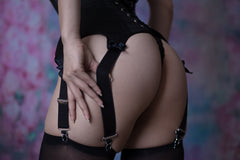 Suspender waspie corset in black satin