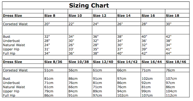 Made to measure and size charts – Miss Katie Corsets