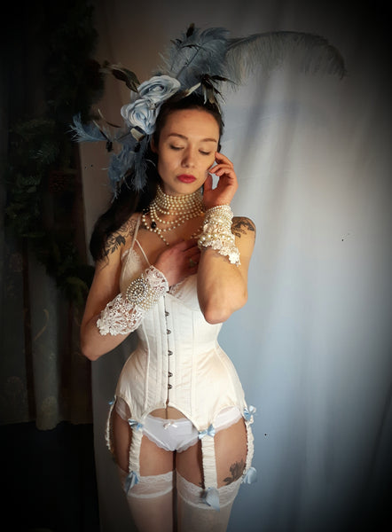 Wedding ivory silk underbust corset with 6 ruched suspenders