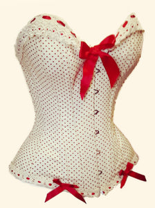 overbust corset red polka dot