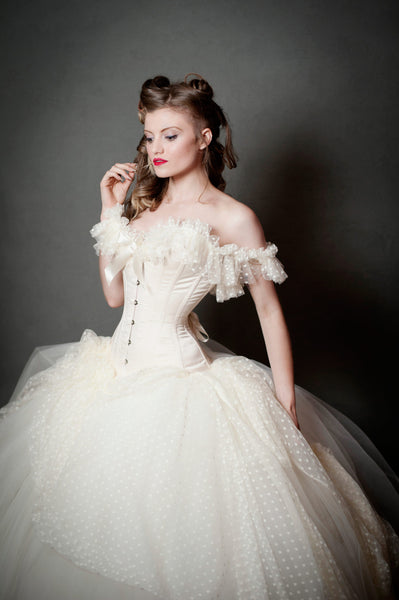Cream overbust corset with soft polka dot tulle shoulder and neckline