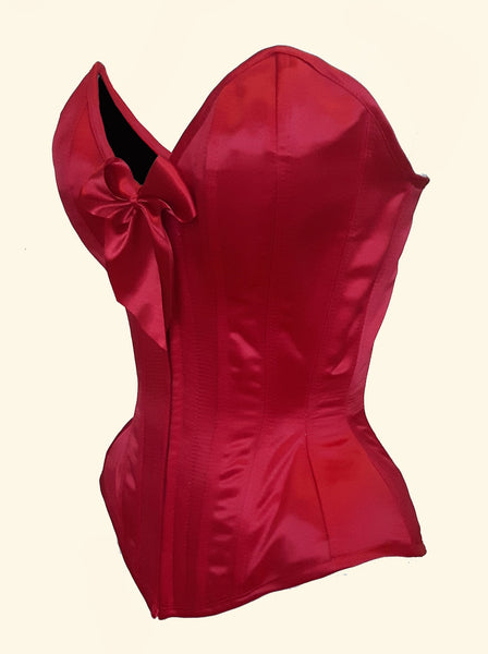 Red Valentine Sweetheart Overbust Corset with zipper front or busk.