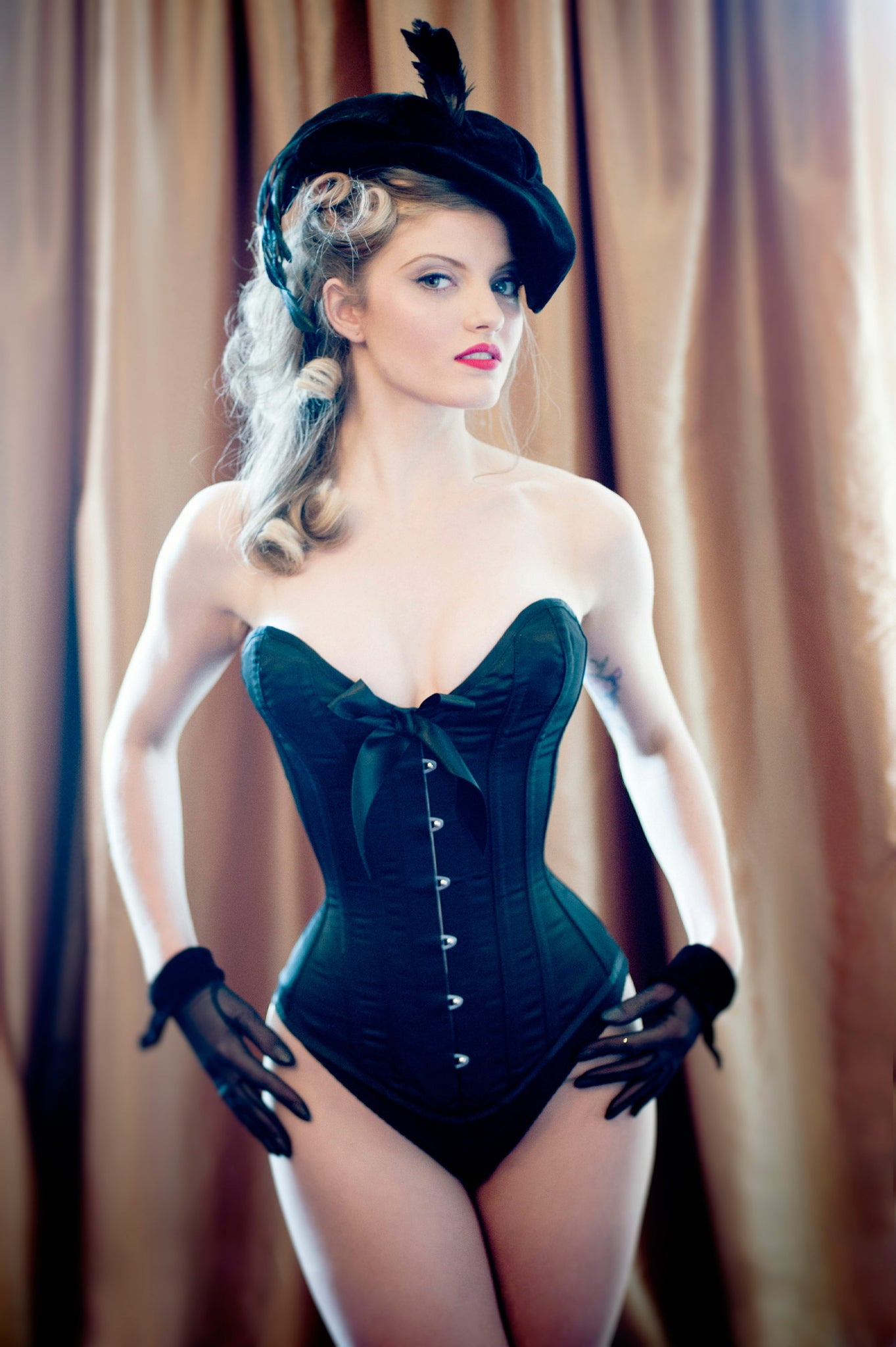 classic black overbust corset with bow