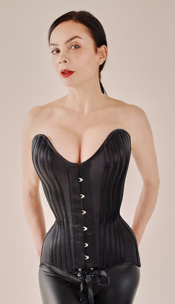 Deluxe black overbust corset in matt and satin coutil