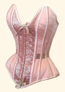Peach overbust corset with plunge bustline, soft sheen sequins and champagne gold embellishments