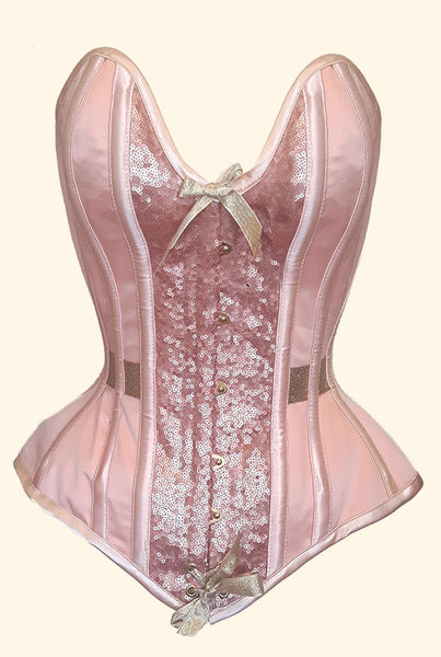 Peach overbust corset with plunge bustline, soft sheen sequins and gold embellishments