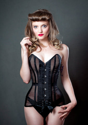 Black mesh corset tight lacing see through