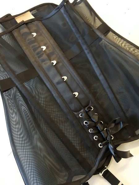 Mesh black girdle corset detail
