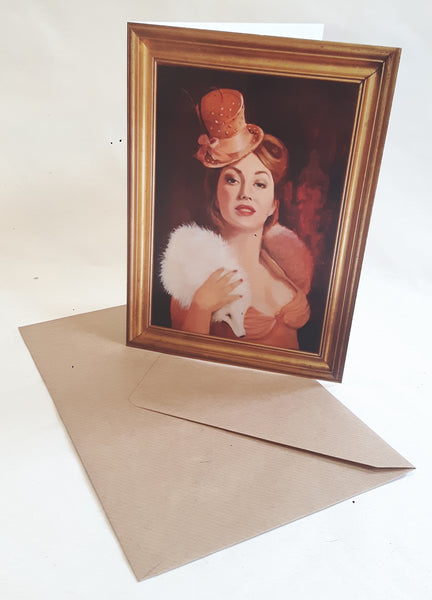 Showgirl burlesque style art greetings card
