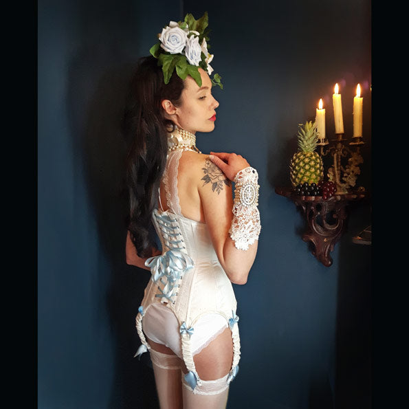 Wedding ivory underbust corset with ruched suspenders