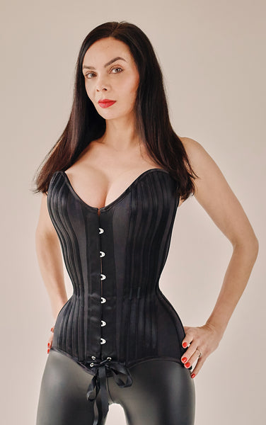 Deluxe black overbust corset matt and satin