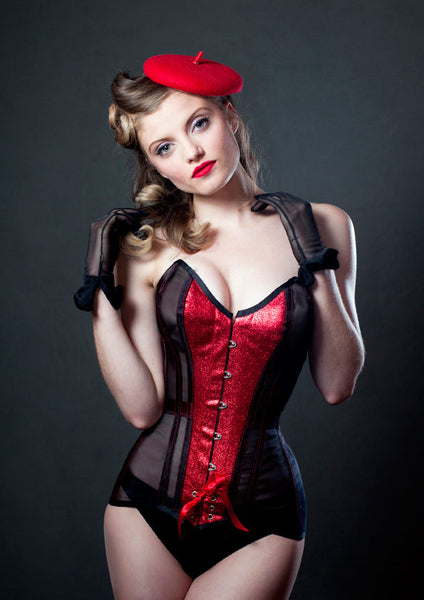 Black mesh and red glitter tightlacing overbust corset