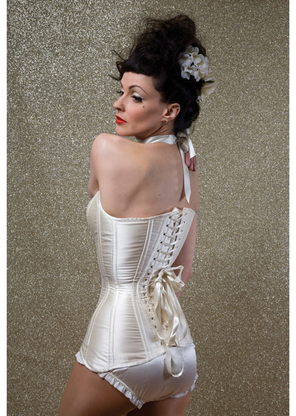 Longline overbust corset in ivory duchess satin