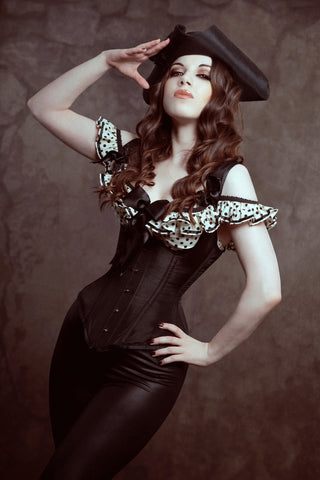 Waistcoat style underbust corset with shoulder straps