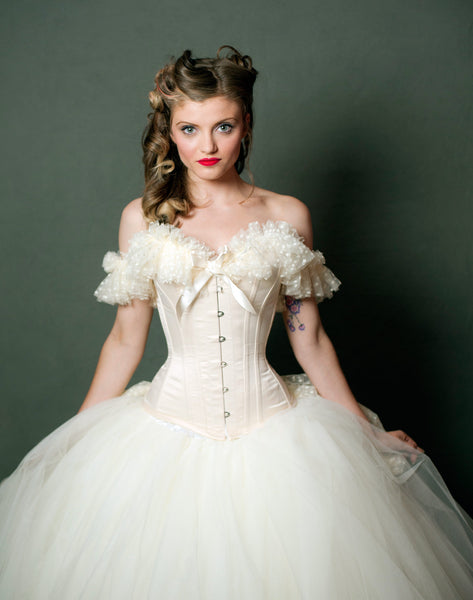 Wedding cream overbust corset with polka dot soft tulle neckline and shoulder straps