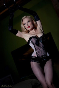 Pink and black burlesque style overbust corset