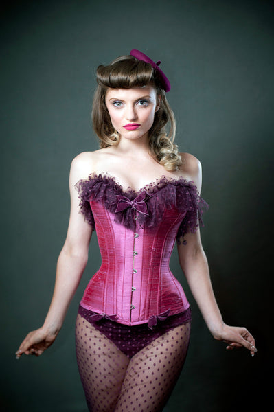 pink overbust corset polka dot tulle