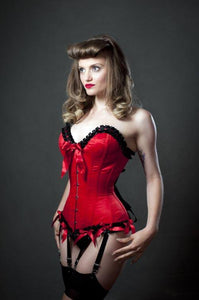 Red satin overbust corset with black ribbon pleated trimming