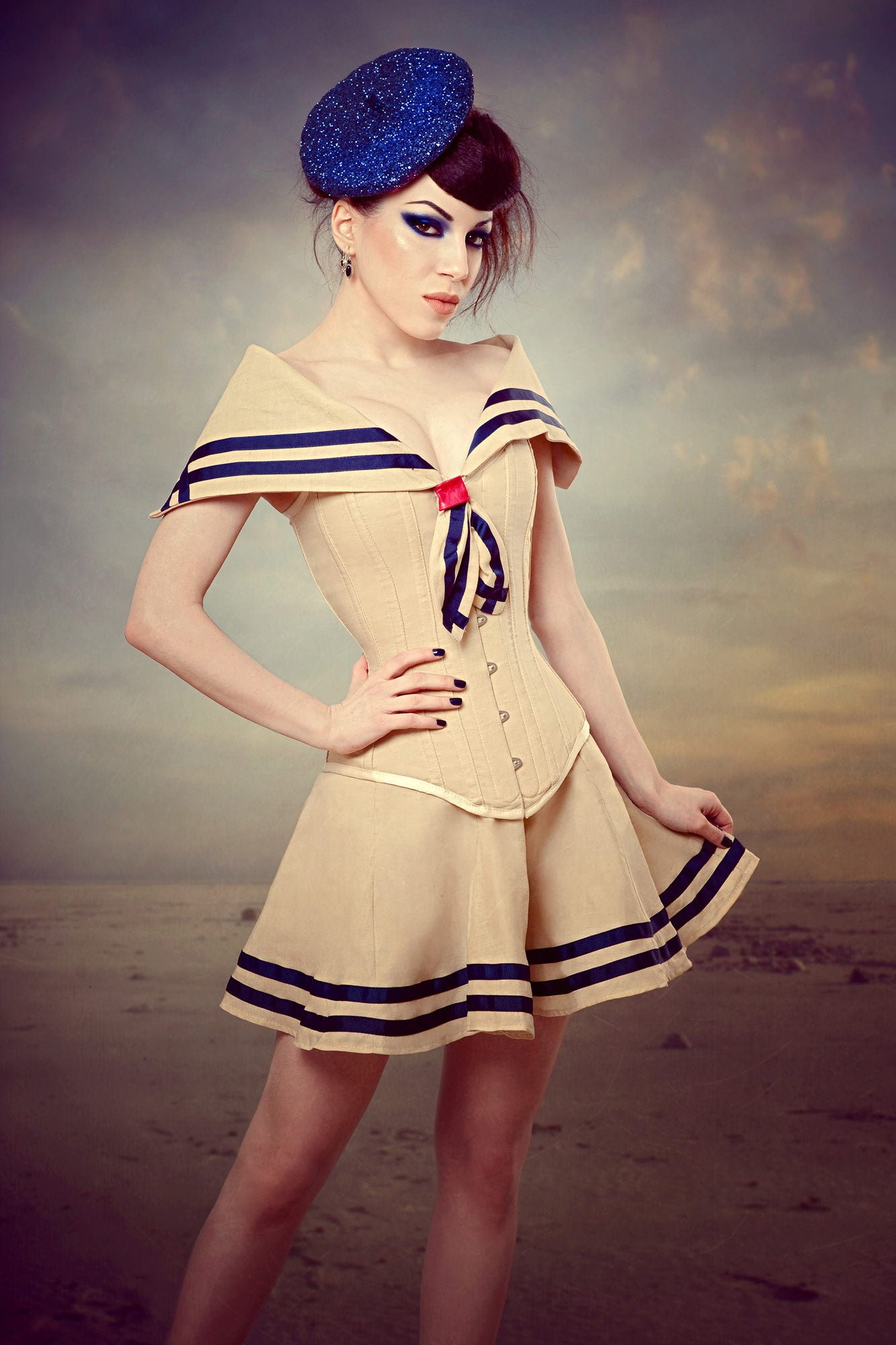 Vintage Sailor Collar Corset