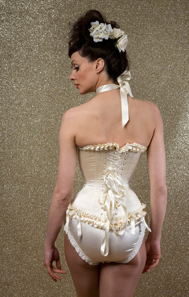 Cream duchess silk satin overbust corset with pleated ribbon trimming