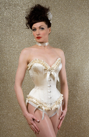 Cream duchess silk overbust corset with ribbon pleated trimming