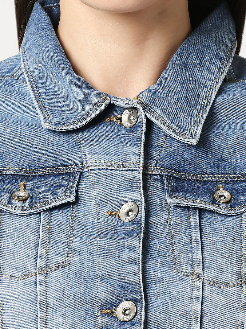 Women Solid Regular Denim Jacket (6319545188527)