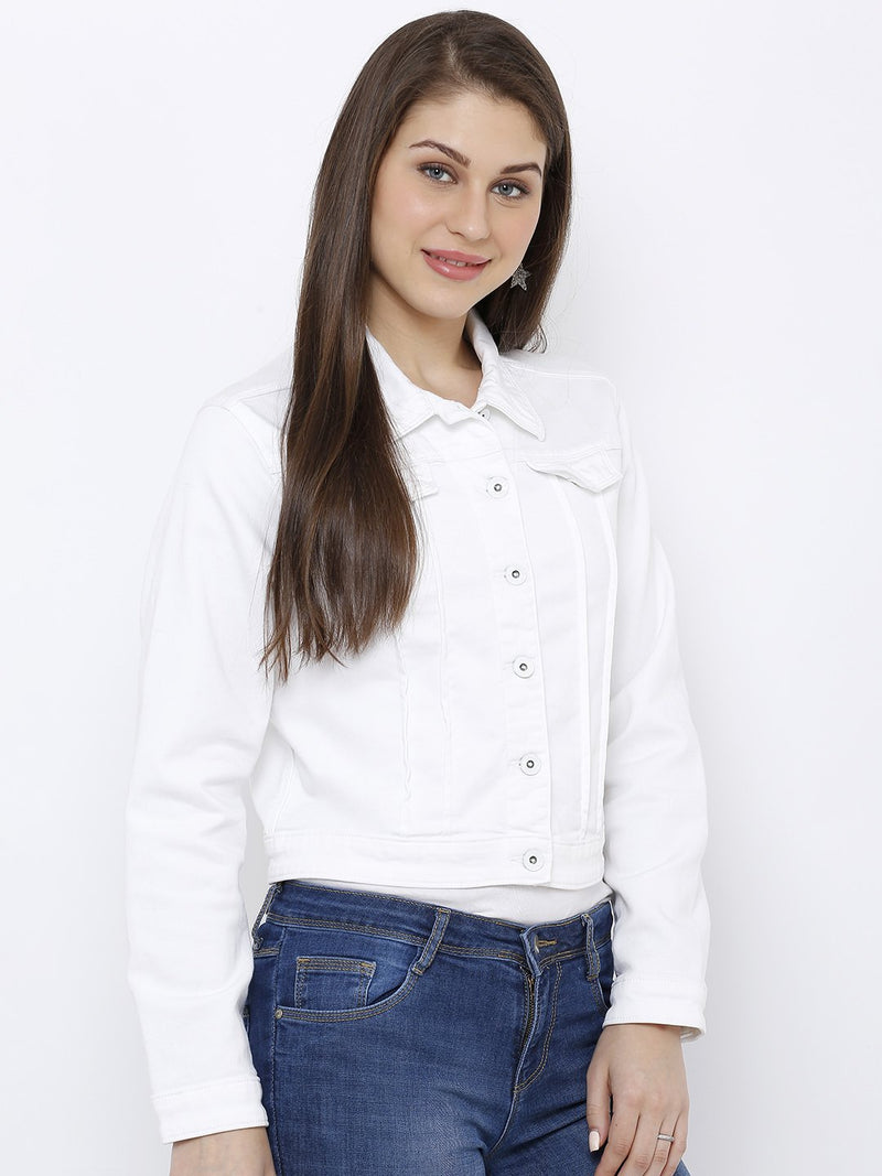 Women Solid Denim Jacket (6251637145775)