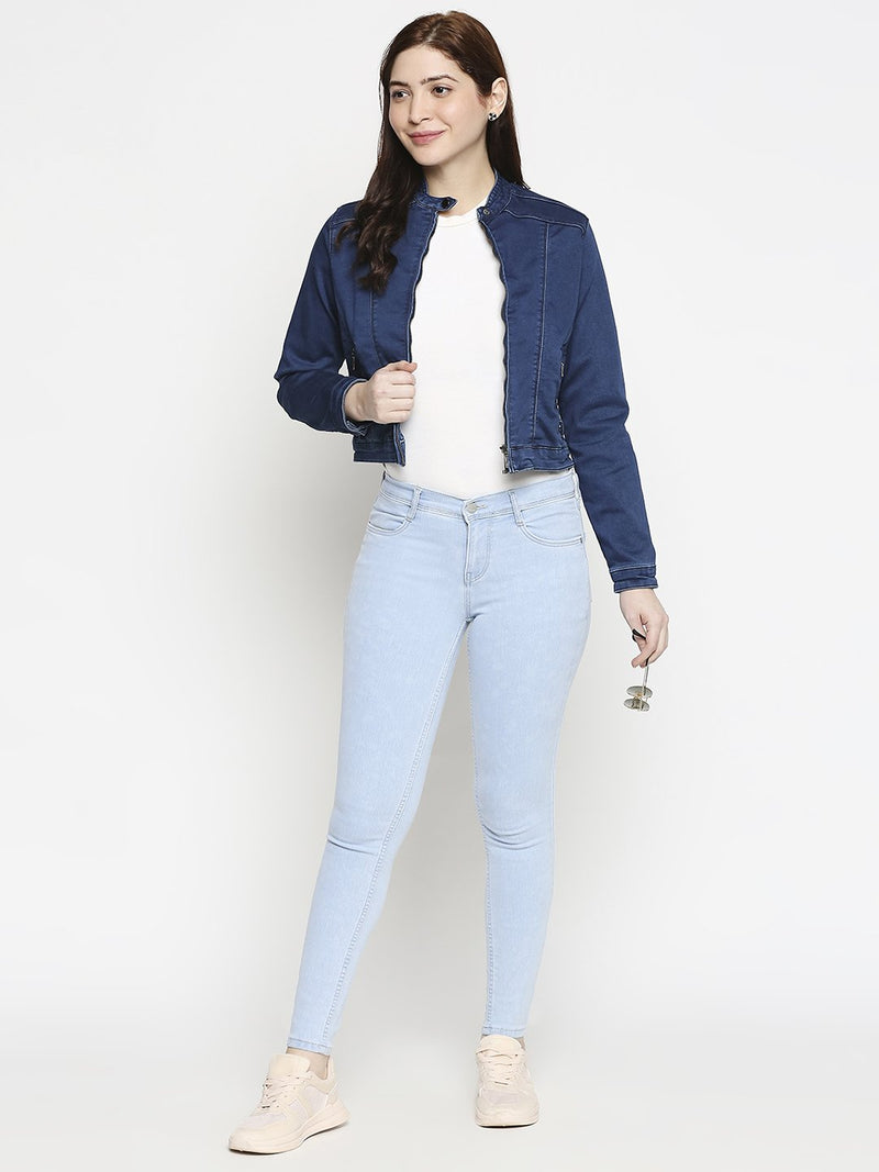 Women Solid Denim Jacket (6289943625903)