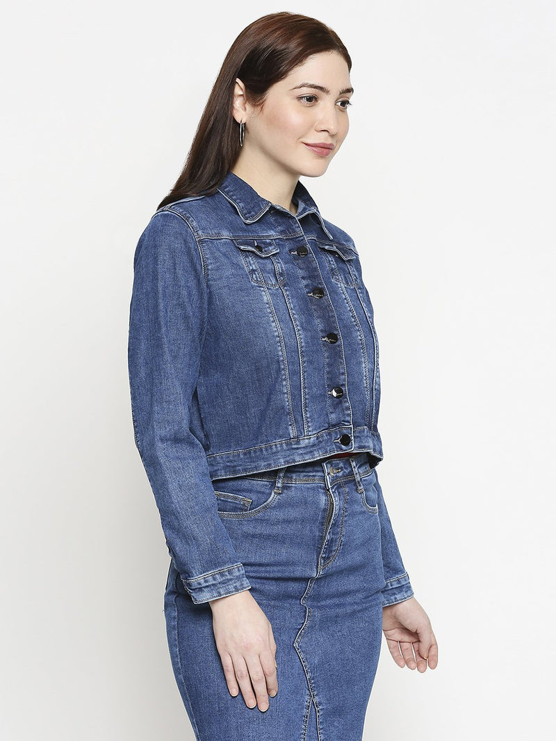 Women Solid Denim Jacket (6289943691439)